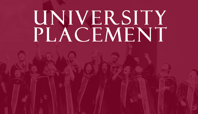 University Placement banner with student graduates as background